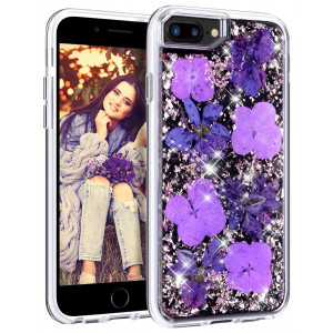 HoneyAKE iPhone 7 Plus/8 Plus Case with Genuine Dried Flower Dual Layer Glitter Shockproof Hard PC Back Cover Soft Rubber Bumper for Teens Girls Women for iPhone 6 Plus/6s Plus/7 Plus/8 Plus(Purple)