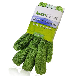 Nano Glove - Green Household Kitchen Cleaning Hand Glove | Replaces Paper Towels Microfiber Wipe Cloths and Feather Dusters | All Purpose Surface Cleaner for Window Stainless Steel Dusting | Small Size