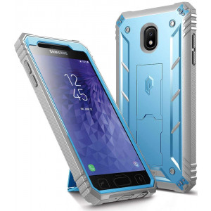 Galaxy J3 2018 Rugged Case, Poetic Revolution Heavy Duty Case with [Built-in-Screen Protector] for Samsung Galaxy J3 2018/J3 Orbit/J3 Star/J3 V 3rd Gen/J3 Achieve/Express Prime 3/Amp Prime 3 - Blue