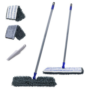 """Mastertop 2 in 1 Two-Sided 16.8"""" Chenille Microfiber Mop with Long Handle Magic Mop with 2 Free Replaceable Mop Head ..."""