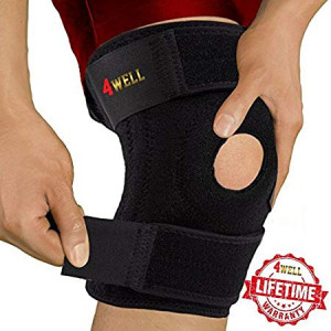 4WELL Knee Patella Support Brace for Men Women - Best Open Patella Knee Stabilizer for Walking Injury Recovery Running Sport ACL - Non Slip Comfortable Adjustable Knee Brace Neoprene. (FDA Approved)