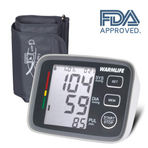 WARMLIFE Accurate Automatic Upper Arm Blood Pressure Monitor Digital BP Machine Pulse Rate Monitoring Meter with 8.8-14.1in Cuff Kit,180 Records Two Users,Speaker- FDA Approved (Classic Black)