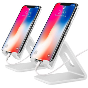 Cell Phone Stand,2 Pack Tablets Stand Desktop Cradle Holder Dock for Smartphone E-Reader, Compatible iPhone X 8 7 6 6s Plus Se 5 5s 5c, Galaxy Google, Charging, Universal Accessories Desk (White)