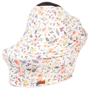 5-in-1 Car Seat Canopy and Nursing Cover by Matimati, Stretchy and Ultra Soft Breastfeeding, Carseat and Stroller, Shopping Cart Covers, Perfect Gift for Mom (Floral)