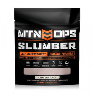 MTN OPS Slumber Hibern8 Night-Time Rest Recovery Drink Sleep Aid, Sleepy Chai Flavor, 30 Servings Per Container