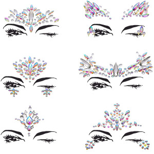 Maxdot Rhinestone Face Gems Sticker Face Jewels Rave Mermaid Gems Rainbow Crystal Rocks Jewels for Face Decorations, 6 Pieces