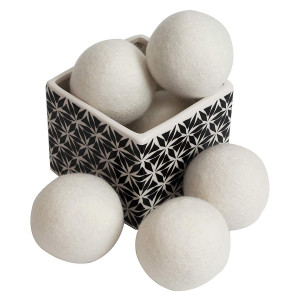 ZG- Home ZGH-106 10156 Wool Dryer Balls 6-Pack, XL Size Premium Reusable Natural Fabric Softener, 3 inches
