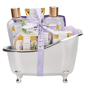 Spa Luxetique Spa Gift Basket Lavender Fragrance, Luxurious 8pc Gift Baskets for Women, Cute Bath Tub Holder - Bath Gift Set Includes Shower Gel, Bubble Bath, Bath Salts and More. Best Holiday Gift Set.