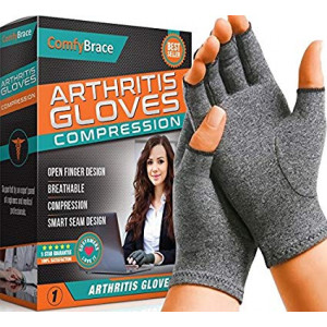 ComfyBrace Arthritis Hand Compression Gloves  Comfy Fit, Fingerless Design, Breathable and Moisture Wicking Fabric  Alleviate Rheumatoid Pains, Ease Muscle Tension, Relieve Carpal Tunnel Aches (Small)