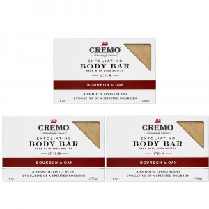 Cremo Exfoliating Body Bar With Shea Butter, Bourbon and Oak, 6 oz. (pack of 3)