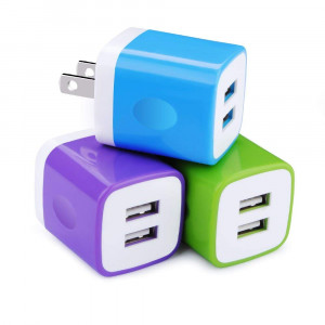 USB Wall Charger, Charger Cube Embink Dual USB 2.1A Colorful Wall Charger Plug Power Adapter Charger Block Cube Replacement for iPhone X/8/7/6 Plus,iPad,Samsung Galaxy,LG,Motorola 3-Pack