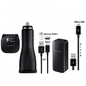 Offical OEM Samsung Adaptive Fast Car Charging Charger W/2100mAh Battery Charger and Micro to TYPE C Adapter For S8,S9,+,Note8,Note9 (Combo Pack)
