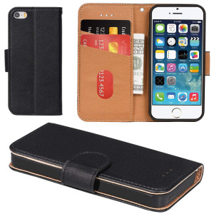 iPhone 5 Case, iPhone 5S Case, Aicoco Flip Cover Leather, Phone Wallet Case for Apple iPhone 5/5S/SE - Black