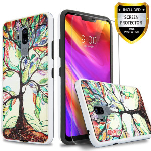 LG G7 ThinQ Case, With [Premium Screen Protector] Circlemalls 2-Piece Style Drop Protection Shockproof Rugged Protective Phone Cover And Stylus Pen Compatible For LG G7 ThinQ/LG G7-Lucky Tree