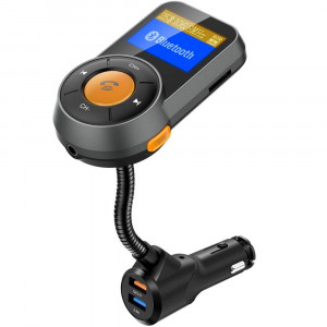 RONXS Bluetooth FM Transmitter for Car Wireless Radio Adapter W QC3.0/2.4A Dual USB Quick Charge, Auto Scan, Power On/Off, Replaceable Fuse, Handsfree Calling, Support SD/TF Card, AUX Out - Orange