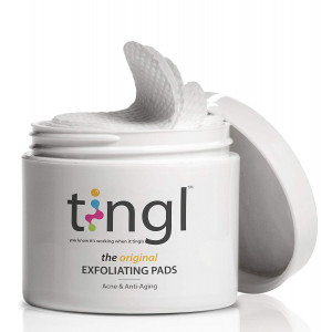 tingl Acne Treatment and Anti-Aging Face Exfoliator with Glycolic Acid, Salicylic Acid, and Lactic Acid. Natural Exfoliant, Face Toner, Pore Minimizer, and Oil Cleanser Pads For Women and Men