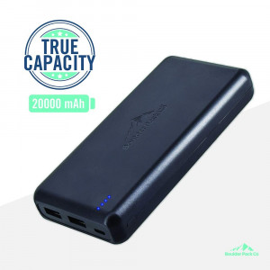 Boulder Pack Co Compact True-Capacity 20000 mAh Power Bank (with 2 Fast-Charge Smart-Output 3.0A Ports, Pass-Through Charging and TSA Compliant) Compatible with iPhone, iPad, and Android