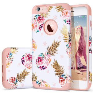 "iPhone 6S Plus Case,iPhone 6 Plus Case Pineapple,Fingic Ultra Slim Floral Pineapple Design Case Hard PC Soft Rubber Anti-Scratch Protective Case Cover for iPhone 6/6s Plus(5.5""),Floral Pineapple/Pink"