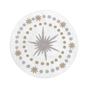 Sweet Jojo Designs Gold, Grey and White Star and Moon Accent Floor Rug or Bath Mat for Celestial Collection