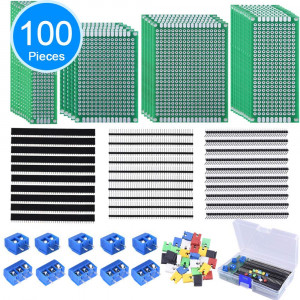 AUSTOR 100 Pcs PCB Board Kit Including 30 Pcs Double Sided Prototype Boards and 30 Pcs 40 Pin 2.54mm Male and Female Header Connector(Bonus: 10 Pcs 2Pand3P Screw Terminal Blocks and 30 Pcs Jumper Caps)