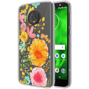 Moto G6 Case, SWODERS Flower Clear Design Shock Absorbing TPU + Hard PC Bumper Case For Motorola Moto G6 - Orange