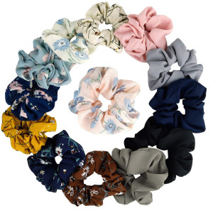 KECUCO 12A Colors Women's Chiffon Flower Hair Scrunchies Hair Bow Chiffon Ponytail HolderIncluding 8 Colors Chiffon Flower Hair Scrunchies and 4A Solid Colors Chiffon Hair Ties (STYLE 1)