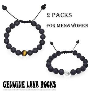 2 Packs Adjustable Lava Stone Diffuser Bracelet Clam Yoga Lava Bracelet Genuine Lava Rock, Essential Oils, Aromatherapy, Confidence, Meditation FOR MEN/WOMEN 7 to 9.9 inches