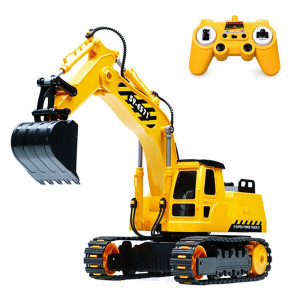 DOUBLE E Remote Control Excavator Full Functional Construction Tractor, Rechargeable RC Truck Excavator with 2.4Ghz Transmitter