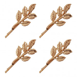 4 Pcs Women Gold Olive Branch Leaves Hair Clip Jewelry - Girls Retro Bobby Pin Liu Hai Hairpin Side Clamp Wedding Barrette Headgear