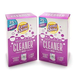 Lemi Shine Natural Washing Machine Cleaner + Wipes - 4-1.76 oz + 4 Wipes - 2 Pack Bundle - 8 Uses Total