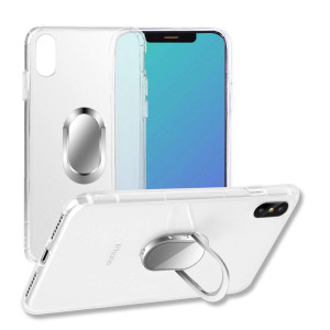 iPhone X case,with Ring Holder Kickstand Function, 360 Degree Rotating Ring Holder Grip Case with Magnetic Car Mount Soft TPU Cover for iPhone 10 (Transparent)