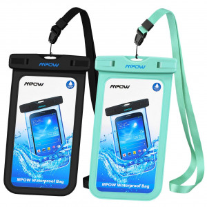 Mpow Universal Waterproof Case, IPX8 Waterproof Phone Pouch Dry Bag Compatible for iPhone X/8/8plus/7/7plus/6s/6/6s Plus Galaxy s8/s7 Google Pixel HTC10 (Black+Blue 2-Pack)