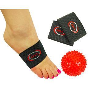 CULL Highest 35% Copper Compression Arch Support Sleeves: Plantar Fasciitis Pain Relief Arch Bands + Therapy Ball In Carry Bag|Comfy and Sturdy Sleeves for Men/Women|Stop Flat Feet/Foot Arch Support Set