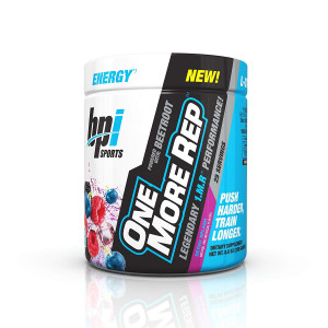BPI One More Rep Pre-Workout Powder Enhanced Energy Drink with Beetroot for Muscle Pump - Boost Energy and Focus  Build Muscle with a Muscle Growth Supplement, Berry Splash, 25 Servings