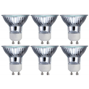 GU10 Bulb 6 Pack 120V 50W MR16 with UV Glass Cover Long Life Dimmable Halogen Flood Light Bulb