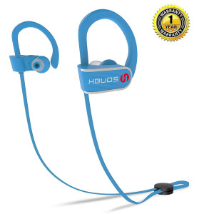 Bluetooth Headphones,HBUDS Waterproof IPX7 Wireless Sports Earbuds,Deep Bass HiFi Stereo In-Ear Earphones Built-in Mic, 8-9 Hrs Playtime Noise Canceling Headsets Blue (Memory Ear Tips and Fast Pairing)