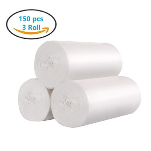 4 Gallon Medium Garbage/Trash Bags,150 Count /3 Rolls(Clear White)