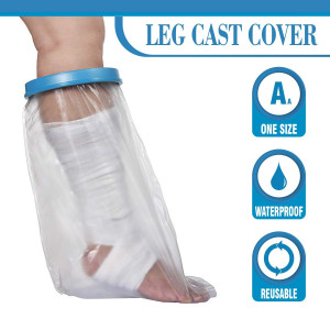 Wilsco Adult Waterproof Leg Cast Cover for Shower ~ Keep Bandages and Casts Dry in The Shower ~ Submersible + Reusable ~ Keep Sand Out ~ Keep New Tattoos Covered