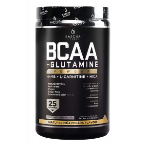 Sascha Fitness BCAA 4:1:1 + Glutamine, HMB, L-Carnitine, HICA | Powerful and Instant Powder Blend with Branched Chain Amino Acids (BCAAs) for Pre, Intra and Post-Workout (Pia Colada)