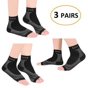 Laneco Plantar Fasciitis Socks (3 Pairs), Compression Foot Sleeves with Heel Arch and Ankle Support, Great Foot Care Compression Sleeve for Men and Women