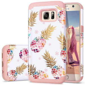 Galaxy S7 Case,Pineapple S7 Cases,Fingic Cute Pineapple Slim Hybrid Case Hard PCandSoft Rubber Anti-Scratch Protective Case for Ladies Girls Cover for Samsung Galaxy S7(G930) ONLY,Pineapple/Rose Gold