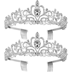 TecUnite 2 Pack Wedding Bridal Crown, Crystal Rhinestones Crown with Comb Princess Crown Headband