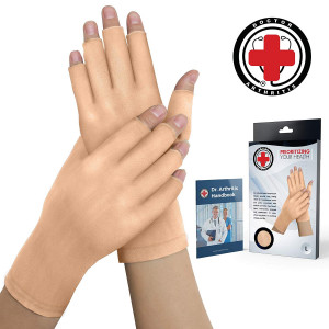Doctor Developed Nude Arthritis Gloves/Skin Gloves and Doctor Written Handbook - Soft with Mild Compression, for Arthritis, Raynauds Disease and Carpal Tunnel (Open-fingertips, Small)