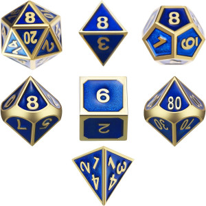 TecUnite 7 Die Metal Polyhedral Dice Set DND Shiny Gold and Blue Enamel Role Playing Game Dice Set with Storage Bag for RPG Dungeons and Dragons DandD Math Teaching