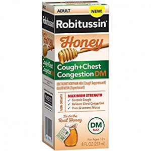 Robitussin Honey Adult Maximum Strength Cough + Chest Congestion DM Max, Non-Drowsy Cough Suppressant and Expectorant, Real Honey, 8 fl. oz. Bottle