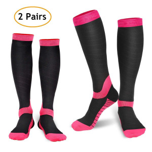 Compression Socks for Women and Men (2 Pairs), Refun Graduated Compression Sock 20-30 mmHg for Running, Medical, Sports, Flight Travel, Nurses, Maternity Pregnancy, Shin Splints, Edema, Varicose Veins