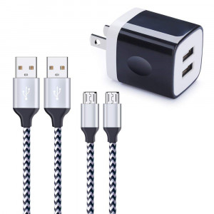Android Charger, Wall Plug, Hootek 2.1A Dual Port USB Charger Cube Charging Block 2-Pack 6ft Nylon Braided Micro USB Cable Fast Charger Cord Compatible Samsung Galaxy S6 S7 Edge, LG Stylo 3