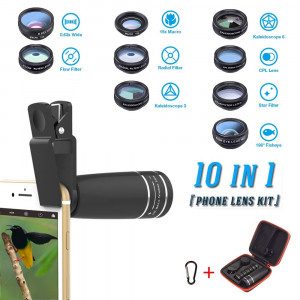 Phone Lens Kit, 10 in 1 Cell Phone Camera Lens- Zoom Telephoto Lens + Fisheye Lens + Wide Angle and 15x Macro Lens+ CPL/Flow/Radial/Star Filter+Kaleidoscope 3/6 Lens for iPhone X 8 7 6 6s Plus Samsung