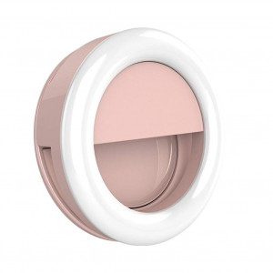 BESLAM Selfie Ring Light Clip Type Rechargeable,LED Selfy Light for iPhone,Camera Fill Light Portable,Facetime Lighting Supply Ring for Travel,Pink