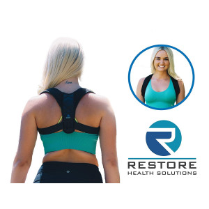 Premium Back Posture Corrector for Women by Restore Health Solutions. Adjustable Support Brace and Prevents Back, Shoulder, and Neck Pain. Includes Comfortable Under Arm Pads and Carry Bag.
